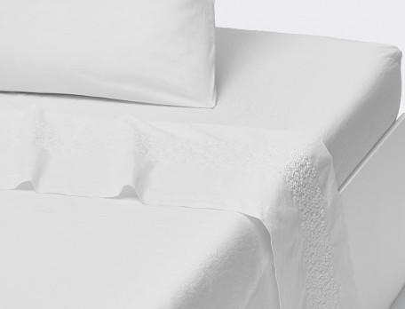 Drap percale lavée uni blanc broderie Rêves blancs