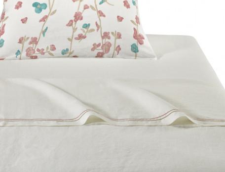 Drap métis lavé 50% lin 50% coton blanc Rose trémière