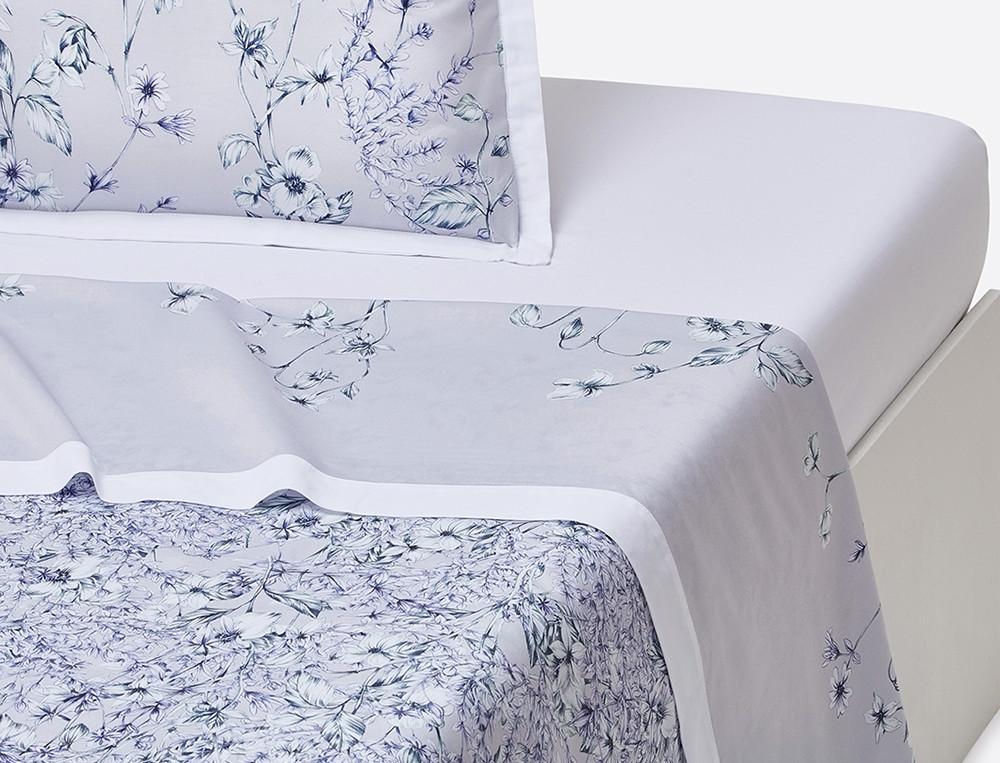 Drap percale imprimé fleur fond gris parement blanc Souffle d'encre