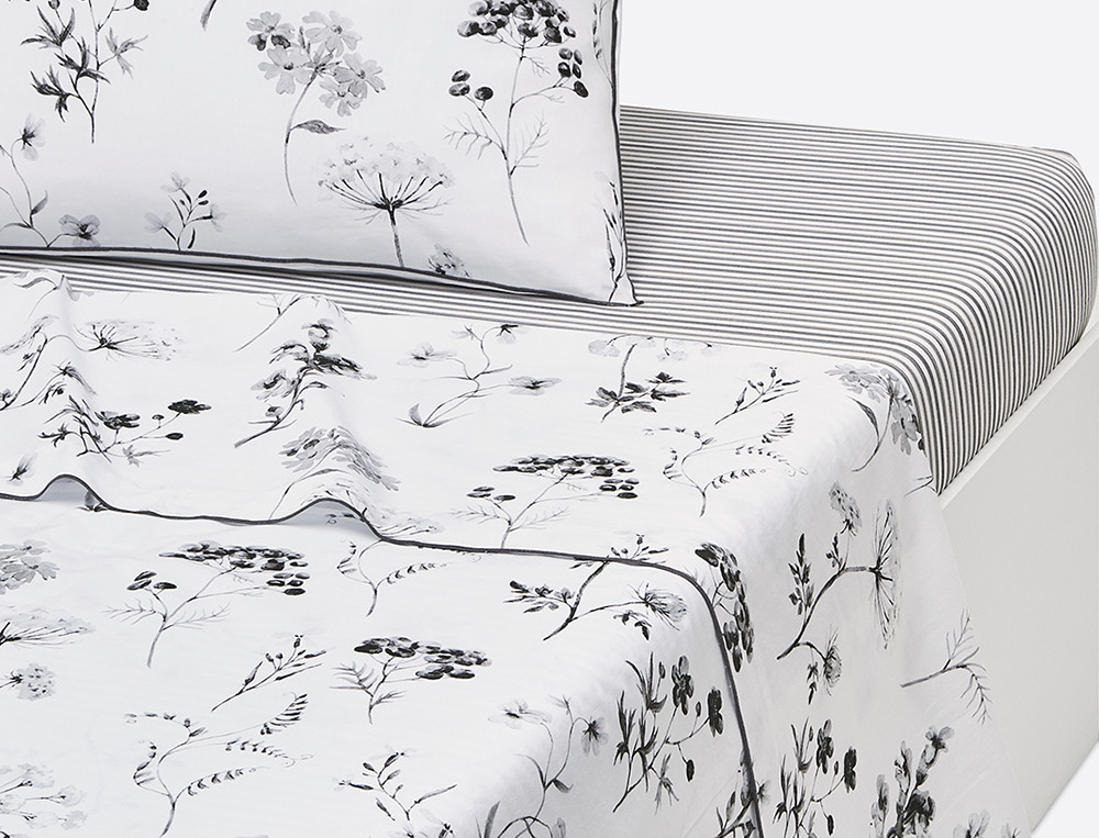 Drap percale imprimé Traits d'encre