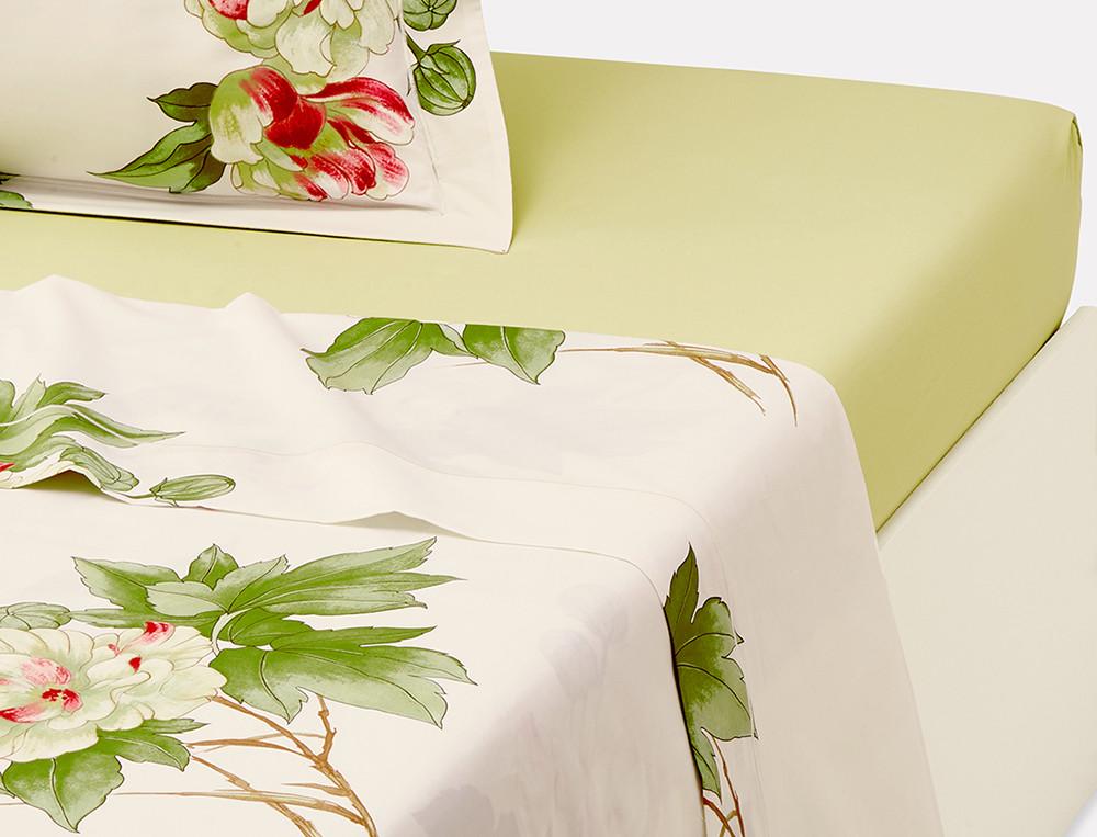 Drap percale ivoire imprimé fleuri Villa Carolina