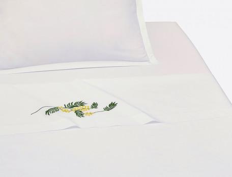 Drap percale blanc brodé fleuri Villa mimosa
