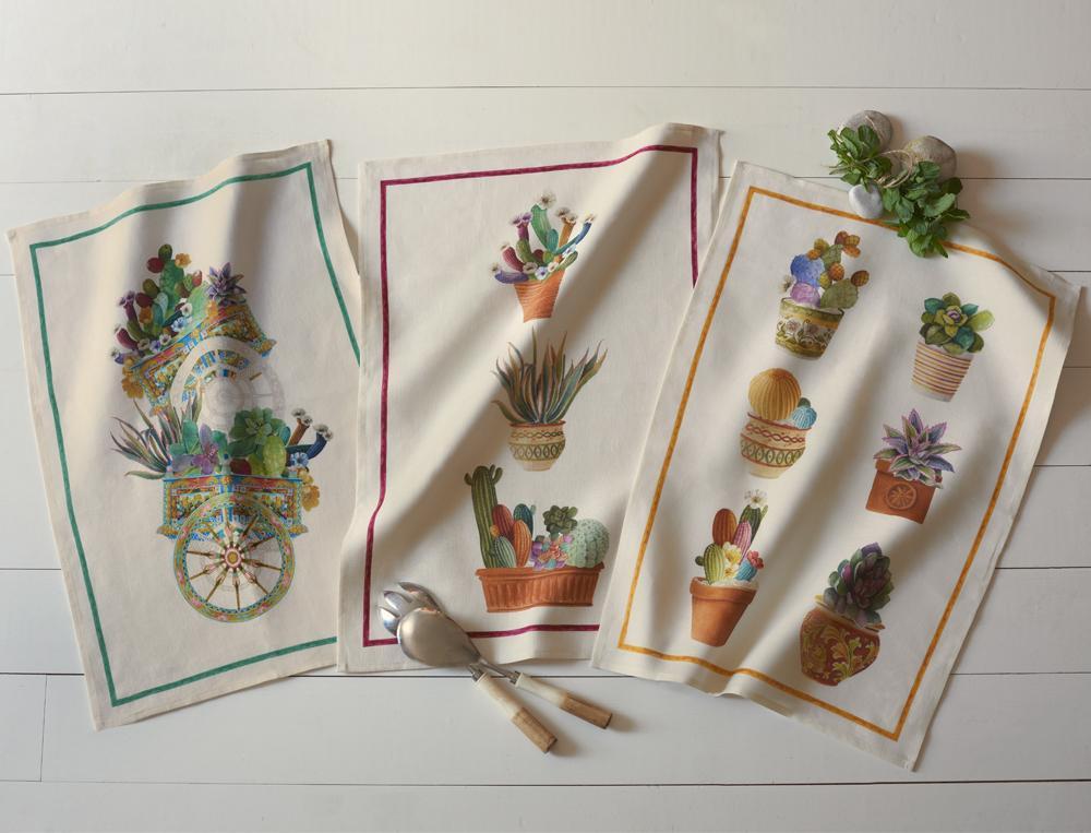 3 Essuie-verres 100% lin Les cactus