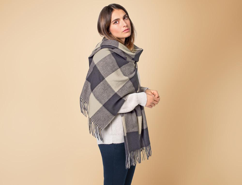 Étole carreaux tissé-teint 100% laine d'agneau Instant cosy