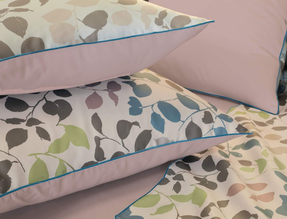 Linge de lit satin imprimé Feuille à feuille