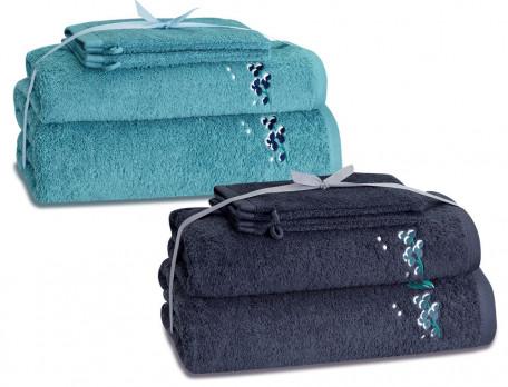 Frottee-Set Blaubeere Baumwolle Linvosges