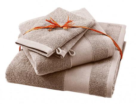 Frottee-Set Entspannungsoase graubraun Baumwolle Linvosges
