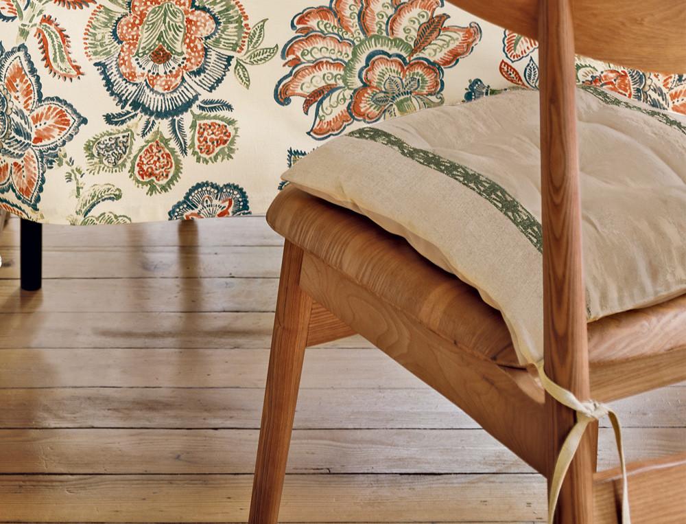 Galettes de chaise 1 face lin brodée et 1 face unie coton Délicieusement simple