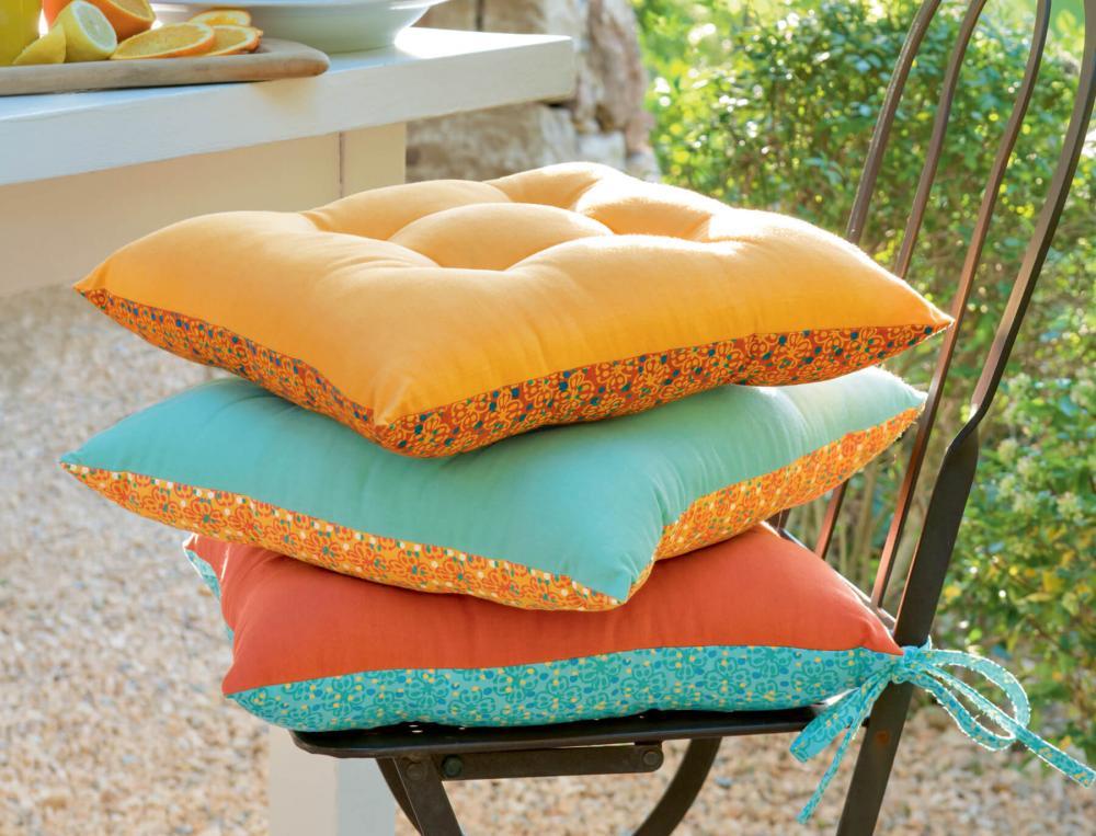 2 galettes de chaises 100% coton Sous les parasols