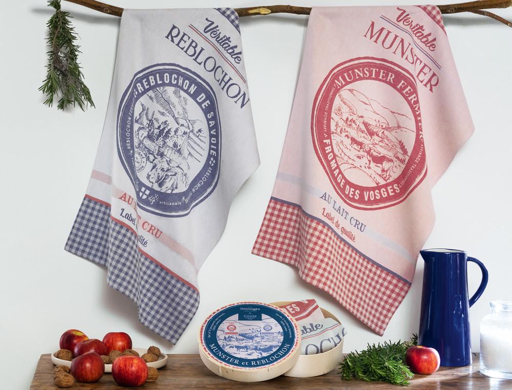 Geschirrtücher Camembert-Verpackung Dreikäsehoch