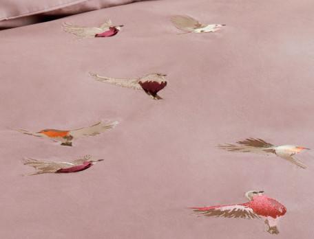 Housse de couette percale brodée dos uni rose thé À vol d'oiseaux