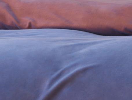 Housse de couette percale réversible une face bleue et une face orangée Balade à Majorelle