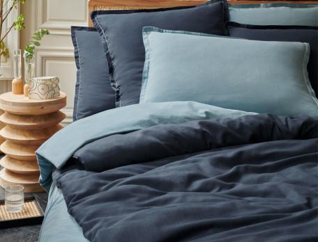 Housse de couette unie bleue avec cheminée Coton cachemire