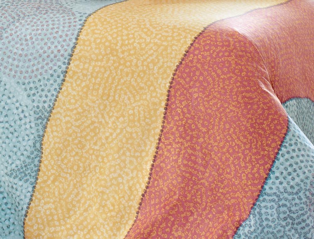 Housse de couette percale imprimée mutlicolore et terre cuite Couleurs Sahara