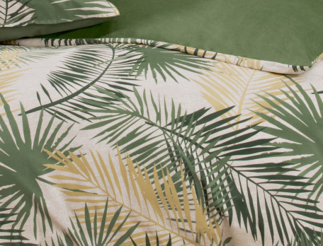 Housse de couette percale imprimé de palms et une face unie En safari