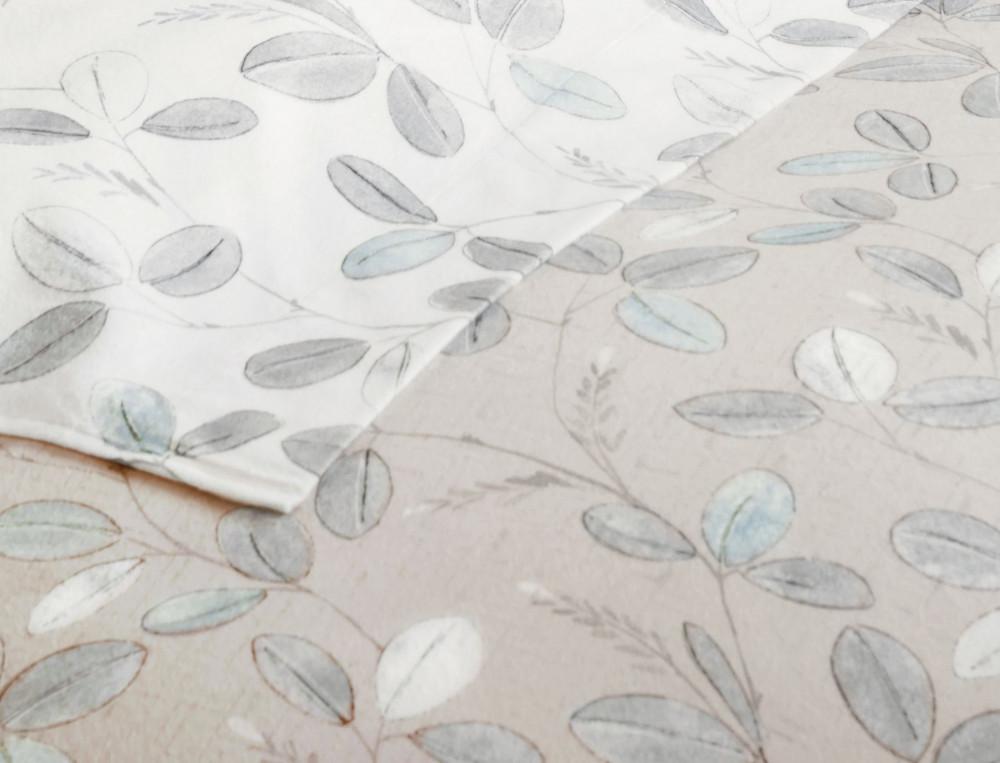 Housse de couette flanelle imprimé réversible fond beige ou blanc cassé Fleur des neiges