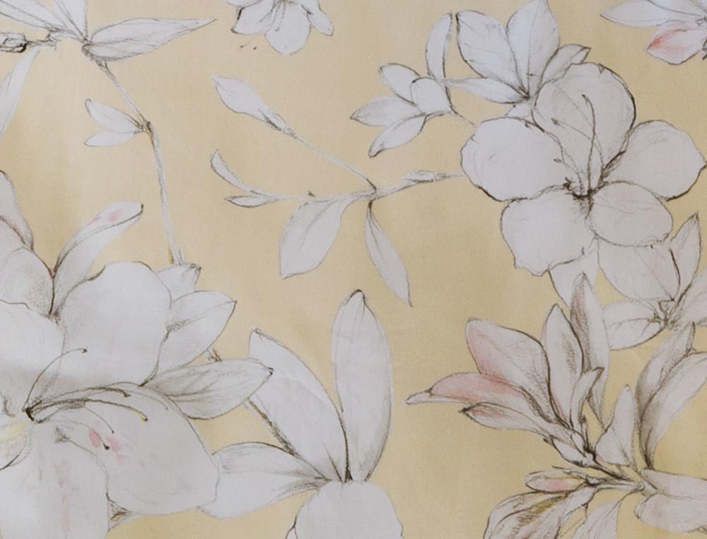 Housse de couette satin imprimé jaune et gris Fleurs de vanille