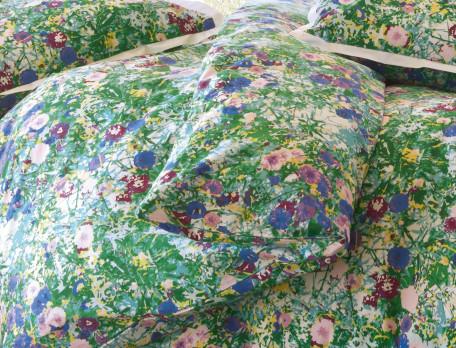 Housse de couette percale imprimé fleuri Forêt d'émeraude