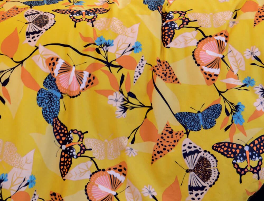 Housse de couette percale coton imprimée de papillons Happiness