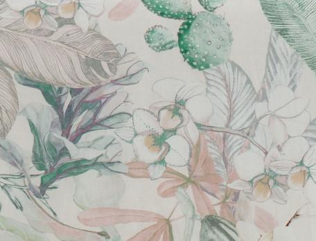 Housse de couette coton fin lavé imprimée fleuri et une face blanc naturelJardin de bagatelle
