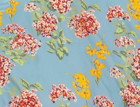 Housse de couette percale imprimé fleuri et dos uni bleu Jardin imaginaire