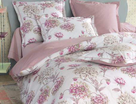 Housse de couette percale 2 faces beige rosé unie et imprimé fleuri L'amoureuse