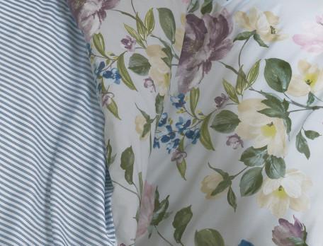 Housse de couette percale réversible imprimé fleuri et rayée finition croquet Le jardin de Marie