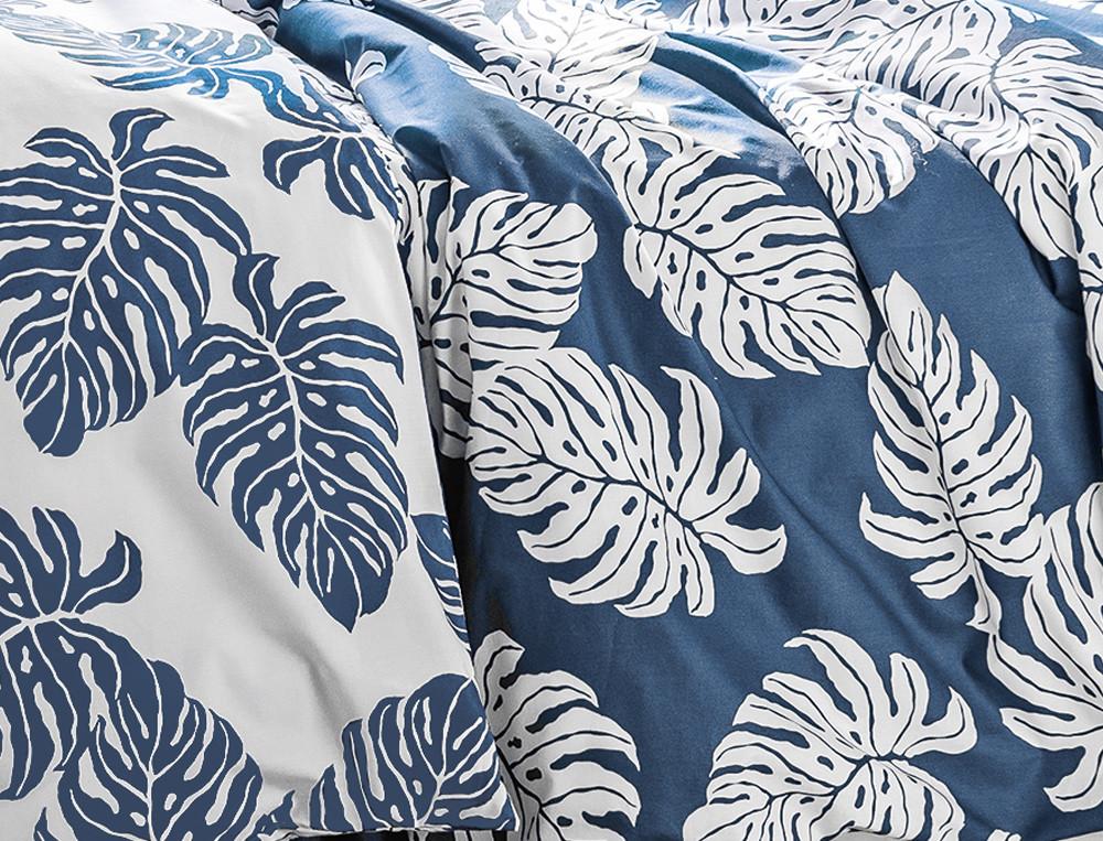 Housse de couette percale imprimée feuilles de palmier Les alizés