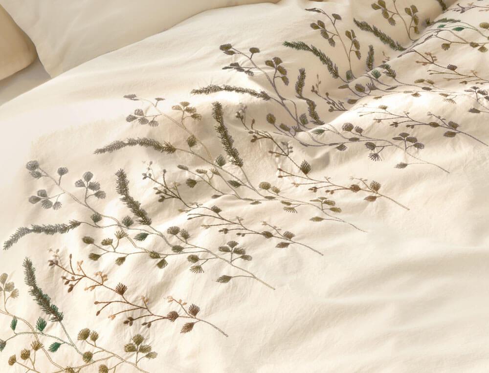 Housse de couette percale lavée 100% coton brodée Mascarpone