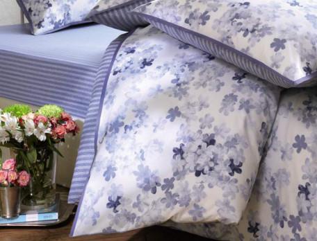 Housse de couette percale réversible imprimé fleuri et rayures biais bleu Petite fleur bleue