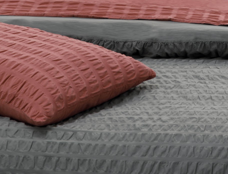 Housse de couette percale lavée coton réversible Seersucker lisse ardoise Quai de Seine