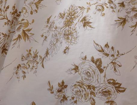 Housse de couette lin lavé 100% coton une face imprimée et une face unie écru Roses de lin