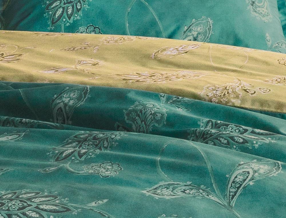 Housse de couette percale imprimée fleurie 1 face fond canard et 1 fond chartreuse Tourmaline