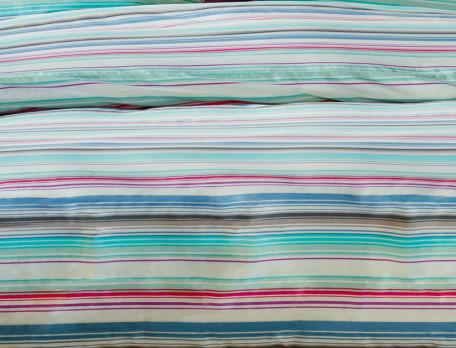 Housse de couette percale imprimé rayures couleurs vives Trait de gourmandise