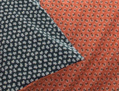 Housse de couette percale imprimée fond orange et fond anthracite Triple jeux
