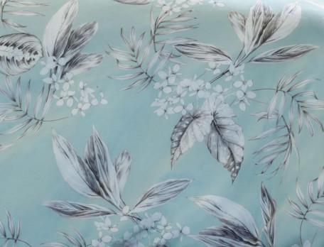 Housse de couette satin réversible imprimé végéral unie bleu Vallée des eaux claires