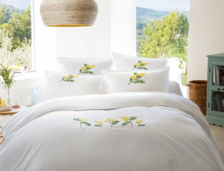 Housse de couette percale blanche brodée végétal Villa mimosa