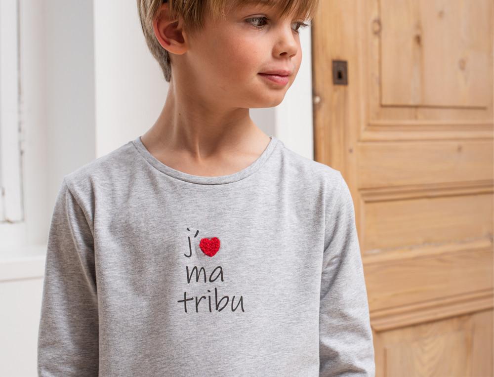 Jungenpyjama Aufdruck Stickerei Familienfest