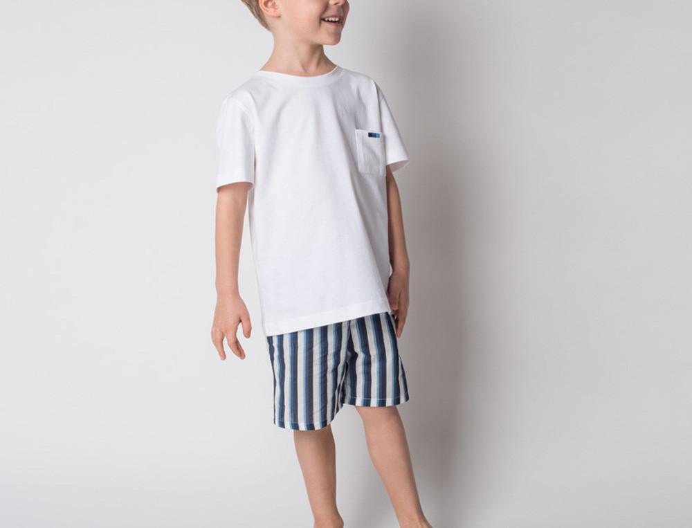 Jungen-Pyjama Ostsee Baumwolle Linvosges