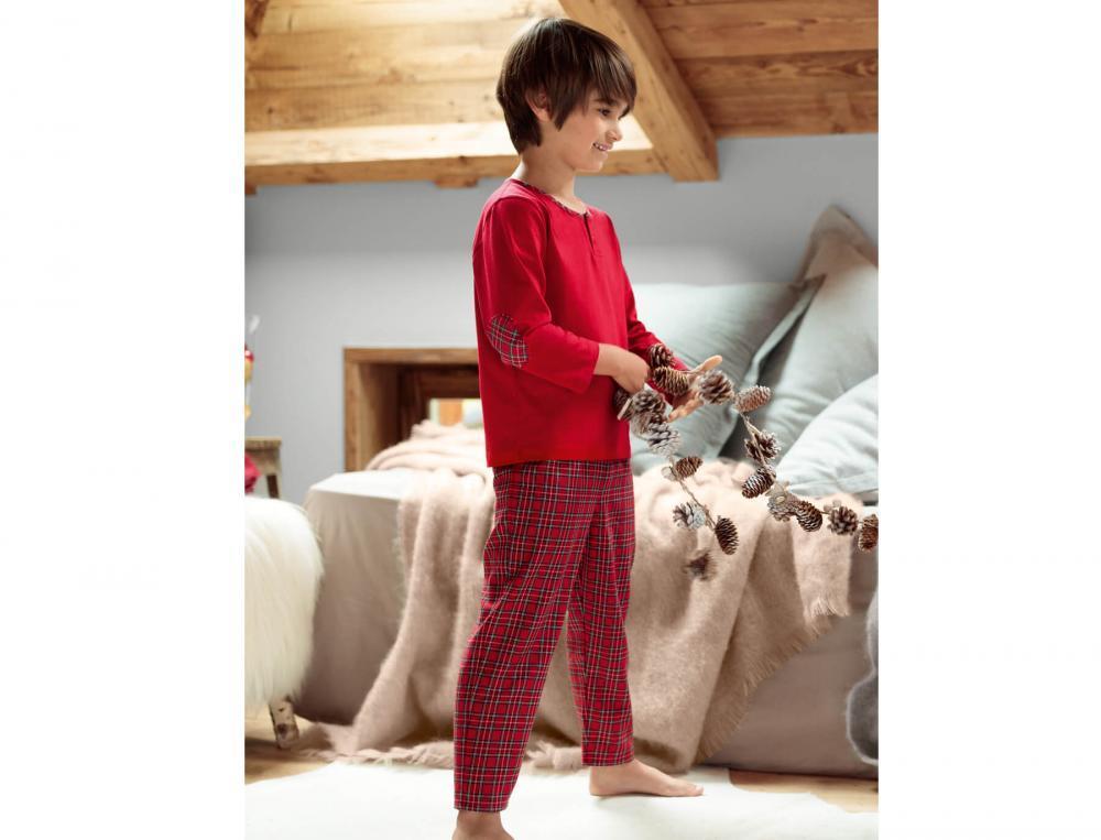 Jungen Pyjama Schneeflocke Baumwolle Linvosges