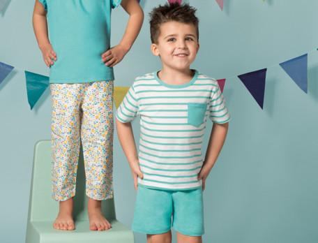 Jungen-Pyjama Sommermorgen Baumwolle Linvosges