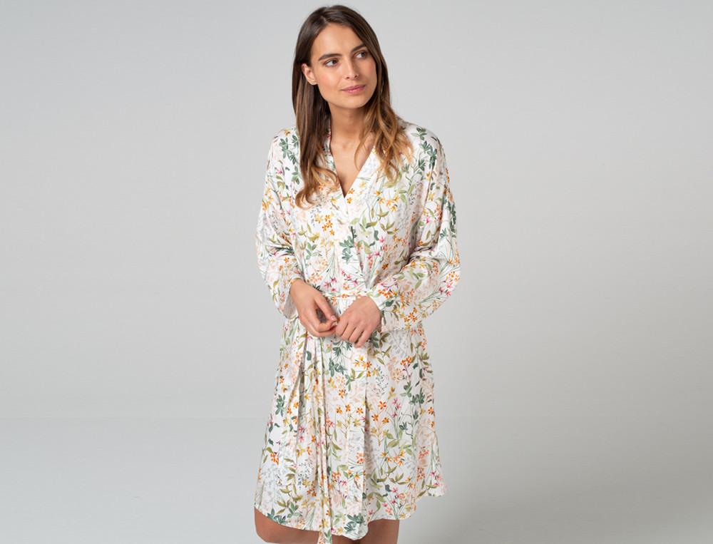 Kimono Blümchen Viskose Linvosges