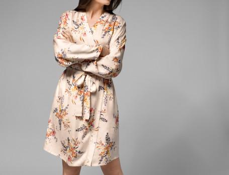 Kimono satin imprimé femme Délicate