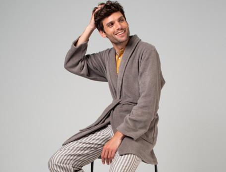 Kimono court homme polaire taupe Les rêveurs