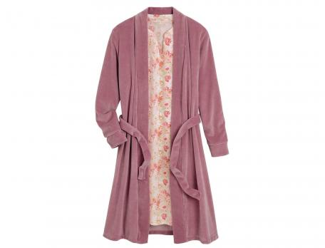 Kimono Sommerblumen Velours Baumwolle