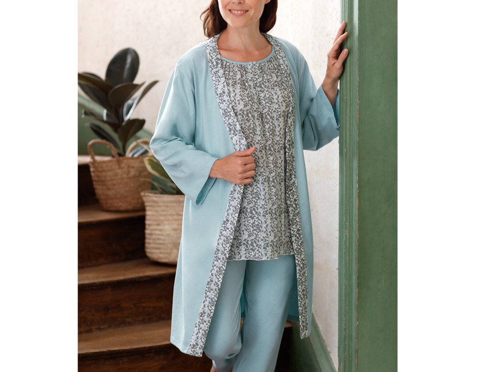 Kimono Wasserblau Linvosges Baumwolle