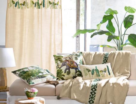 Kissen bestickt Kenia Pflanzenmotiv Linvosges