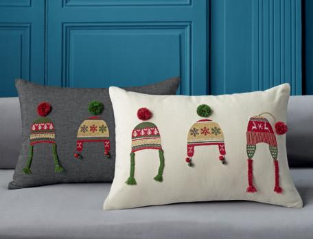 Kissen bestickt Weihnachtsstimmung Baumwolle Linvosges