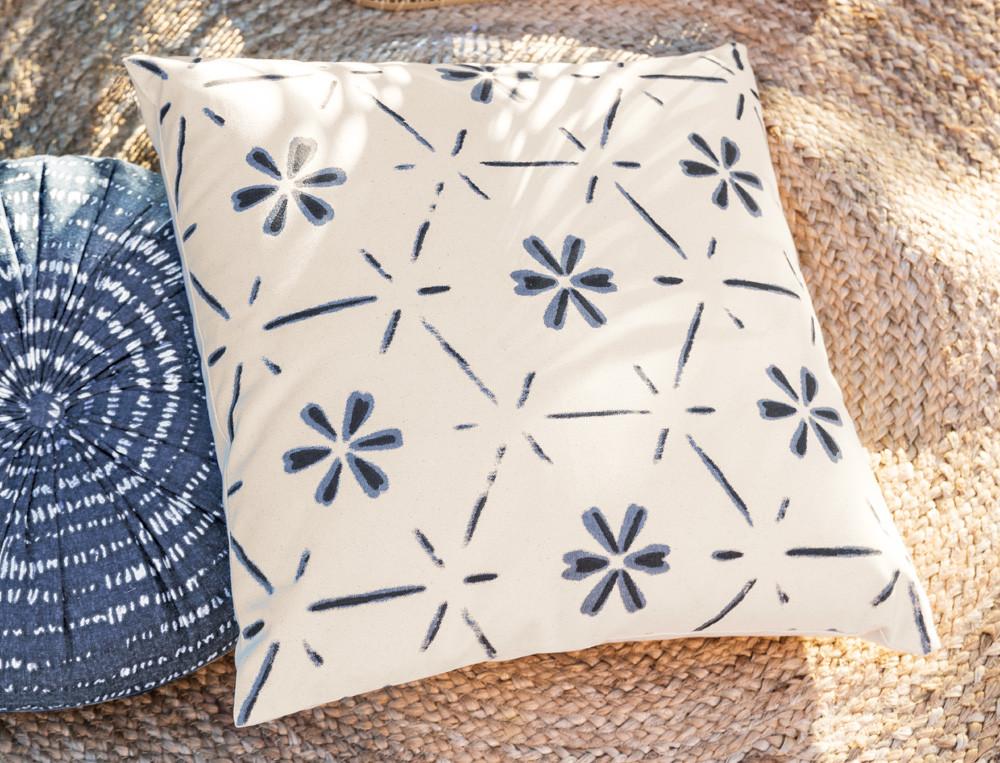 Dekokissen Amorgos Blumen-Motiv Baumwolle