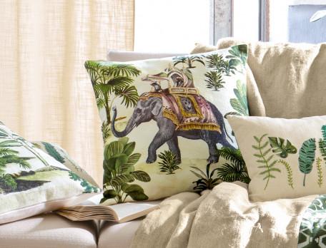 Kissen bedruckt Elefanten Kenia Linvosges
